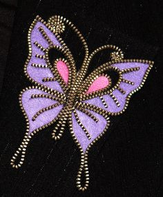 Purple Butterfly designer zipper and felt handmade brooch