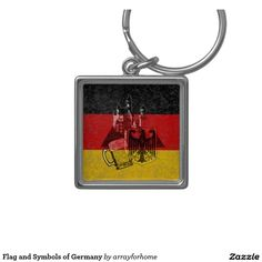 'Flag and Symbols of Germany' Silver-Colored Square Keychain This patriotic design features the flag of Germany overlaying images of Neuschwanstein Castle, the 'Federal Eagle' coat of arms and a beer stein to symbolize the fabulous beers Germany is famous for ........ all with a modern, distressed effect.