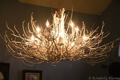 Light fixture adorn with branches (painted white)