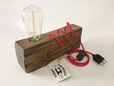 Wooden Lamp-Wooden Lamp-Lamp Design-Vintage Edison Bulb by ZuccheSguide Rustic Lamps, Wood Lamps, Table Lamps, Edison Lighting, Cool Lighting, Lighting Design, Lighting Ideas, Diy Luz, Luminaria Diy
