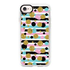 Gold Black Pink and Teal Pokla Dots and Stripes - iPhone 7 Case And... ($40) ❤ liked on Polyvore featuring accessories, tech accessories, iphone case, phone case, iphone cases, teal iphone case, dots iphone case, clear iphone case and polka dot iphone case