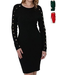 robe boutons sur les manches - CpourL Dresses With Sleeves, Long Sleeve, Black, Fashion, Buttons, Sleeves, Gowns, Moda, Gowns With Sleeves