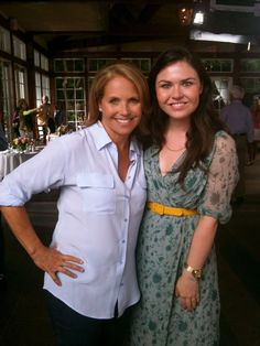 Emma and Katie Couric on set, shooting a promo for Katie, her new talk show.