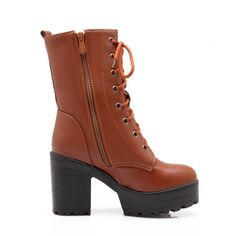 buy online 59051 408f0 Lace Up Ankle Boots Chunky Heel Pumps Women Shoes Fall Winter 5587