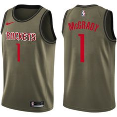 Nike Rockets  1 Tracy McGrady Green Salute to Service NBA Swingman Jersey  Kent Bazemore 80e820d7c