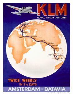 KLM Royal Dutch Airlines Poster Transportation Giclee Print - 30 x 41 cm Air France, Royal Dutch, Vintage Airplanes, Vintage Labels, Vintage Ideas, Vintage Stuff, Vintage Art, Vintage Photos, Advertising Poster