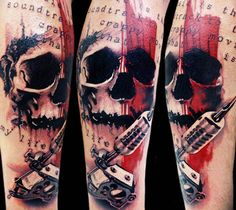 Abstract black and red tattoo of Skull by artist Tattoo Rascal