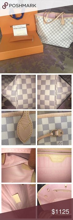 Louis Vuitton Neverfull MM Damier Azur Authentic brand new Louis Vuitton Neverfull mm with rose ballerine interior. Purchased January 26, 2017. Flawless condition. Light patina. No tears no stains no crack. Comes from smoke and pet free home. Come with receipt, dust bag, bag, tags, and receipt holder. BOX AND POUCH NOT INCLUDED. Date code is SD4176 Louis Vuitton Bags Shoulder Bags