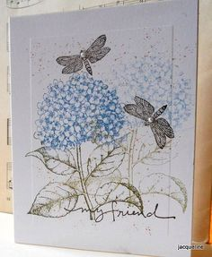https://flic.kr/p/9dXib2 | One layer card | Very easy and quick card stamping once with hydrangea and then a second time with the remaining ink. I have a very old little wooden stamp (from SU)  that gives the effect of pollen. It is very old, but so cherished.