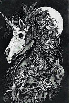 Unicorn skull by Christopher Lovell so intense! Art And Illustration, Fantasy Kunst, Fantasy Art, Totenkopf Tattoos, Unicorn Tattoos, Dragon Unicorn Tattoo, Creation Art, Arte Horror, Inspiration Art