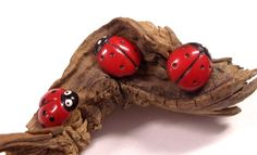 VINTAGE Glass BUTTONS Three 3 Lady Bug Buttons One by punksrus, $8.50