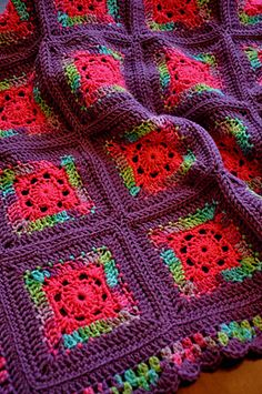 Blushing Grannies - Free pattern by Michele Wilcox.  Colors used: Red Heart Kids Multi in Playful, Red Heart Kids Solid in Pixie Pink, Red Heart Super Saver Solids in Medium Purple.