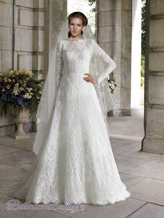 Noviamor Lace Bateau Long Sleeves V Back Church Wedding Dress