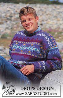 Sweater in Alaska with Borders ~ DROPS Design