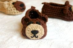 Crochet Pattern for Baby Booties   Baby Bear House Slippers