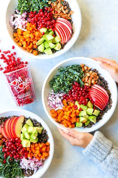 Fall Nourish Bowls – Filled with so many different veggies, these bowls are well-balanced, hearty and HEALTHY! Made with a maple-tahini dressing. Cooking Wild Rice, Vegetarian Recipes, Healthy Recipes, Healthy Dishes, Easy Recipes, Clean Eating, Healthy Eating, Tahini Dressing, Salmon Recipes