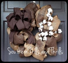Burlap Cotton Wreath Rustic Wreath Cotton by SouthernThrills, $55.00