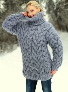 Mohair Sweater, Cable Knit Sweaters, Grey Sweater, Women's Sweaters, Thick Sweaters, Sweaters For Women, Pull Mohair, Knitting Designs, Knitting Patterns