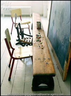 bench & chalkboard.