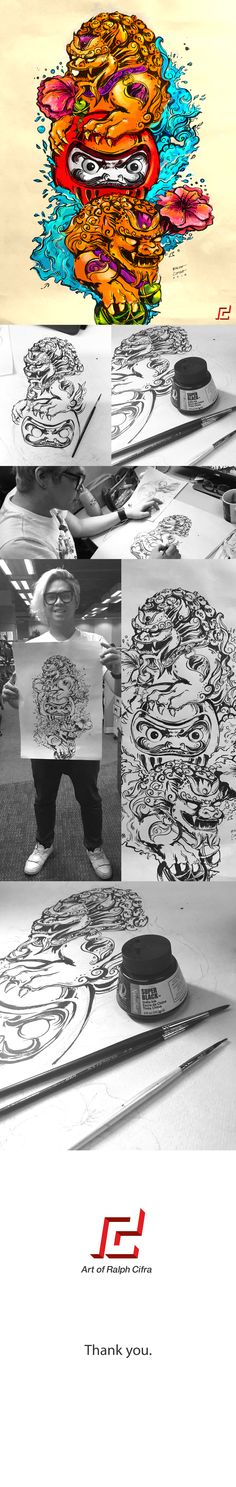 Guardian Lion and Daruma Doll Tattoo Design