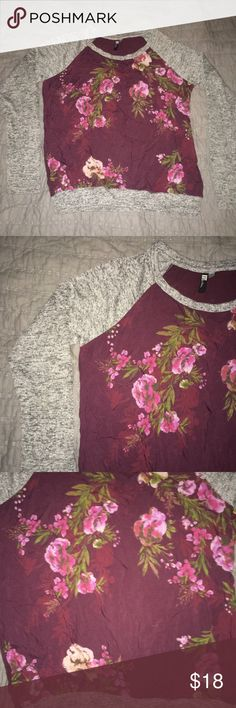 Floral shirt with grey sleeves Size small Floral front, plain purple back Heathered grey sleeves Kut from the Kloth Tops Tees - Long Sleeve