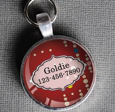 Intense red dotted Pet iD Tag colorful round Dog Tag 35mm round -  by California Mutts