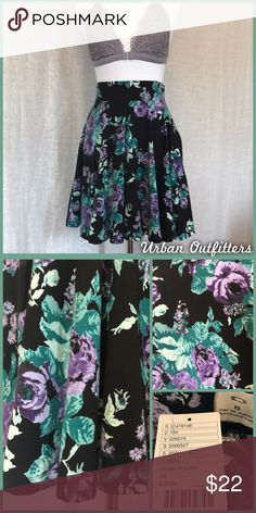 UO Floral Skater Skirt NWT, size xs black Floral skater skirt by Pins and Needles, from Urban Outfitters.  •I'm open to offers and negotiations on all items!• Urban Outfitters Skirts