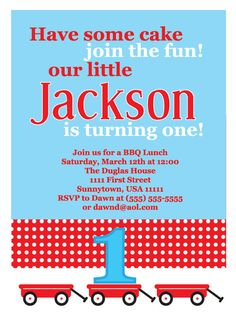 Cute Red Wagon invite from PicklePotamusPress on etsy