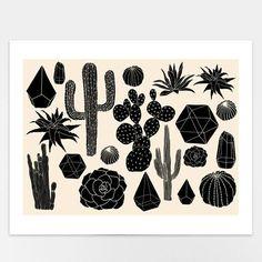 'Black Cactus' Art-Print