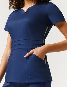 Pleated Peplum Top in Ceil Blue - Medical Scrubs by Jaanuu Lab Coats For Men, Cute Scrubs, Scrubs Outfit, Womens Scrubs, Business Casual Attire, Medical Scrubs, Nursing Dress, African Fashion Dresses, Work Attire