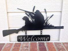 Welcome Sign Outdoor Duck Hunt Shotgun Duck Hunting Decor, Hunting Cabin, Metal Art, Wood Art, Home Projects, Cnc Projects, Outdoor Signs, Wood Crafts, Duck Hunting Tattoos