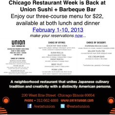 Make your Chicago Restaurant Week Reservations Today! Three Courses for $22 available for lunch and dinner http://ow.ly/gDJSB