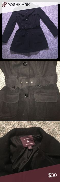 Black peacoat Black peacoat with belt and front pockets. Good condition. Belt is in fair condition Forever 21 Jackets & Coats Pea Coats