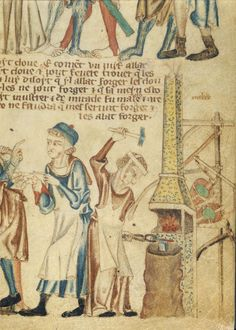 Yvonne Seale ‏@yvonneseale  Jun 27 A #medieval female blacksmith makes nails at a draught forge. Holkham Bible Picture Book, BL Add MS 47682 f.31.