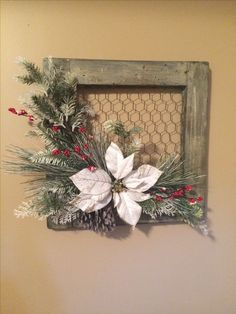 Frame with chicken wire bought at craft store and glued a few Christmas floral picks. Simple and so pretty. Christmas Wood Crafts, Rustic Christmas, Christmas Projects, Holiday Crafts, Christmas Wreaths, Christmas Decorations, Christmas Ornaments, Diy Christmas, Christmas Booth