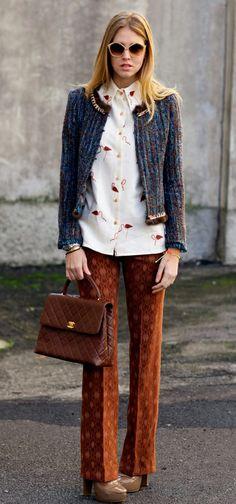 0045725ea Brown Textured Trousers Bracelet Chanel, Bracelet Cartier, Interview Style,  Chiara Ferragni, Simple