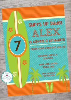 Surfs Up Surfer Party kid birthday party invitation. printable. digital download by LoveAByeBaby on Etsy