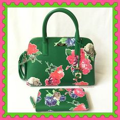 """Authentic Kate Spade HandBag & Zippy Wallet % AUTHENTIC ✨ Gorgeous floral handbag and matching wallet from Kate Spade ♠️ Bag measurements: Length 12"""" Height 9 1/2""""Width 4"""" with detachable and adjustable long strap. Very versatile. Top handle, crossbody and shoulder bag. 3 pockets inside. Wallet measurements: Length 7 1/2"""" Height 4"""" Lots of compartments for you cash and cash. Both yellow gold tone hardware. Both brand new w/ tags. NO TRADE  kate spade Bags Satchels"""