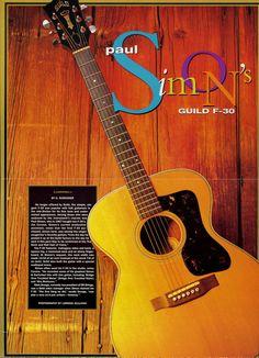 Paul Simon's Guild F-30 Guitar Poster - Simon And Garfunkel - Retro Music Poster - Vintage Music Decor - Music Gift - Music Room Decor by MusicSellerz on Etsy