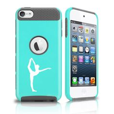Apple iPod Touch 5th / 6th Shockproof Impact Hard Soft Case Cover Dancer Gymnastics (Teal-Grey). Dual layer, 2 piece case. High quality hard plastic outer shell with a shock absorbing soft rubber inside skin. Easy slide on installation. Camera hole cutout on back and full access to all ports and connections.