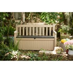 The Keter Eden All Weather Outdoor Patio Bench Deck Box Furniture 70 Gallon is an attractive addition to your garden. This bench box provides seating space, when you enjoy the beautiful weather outside. It also provides plenty of storage space for keeping your garden tools, pool toys, cushions, and other essential accessories. The resin construction ensures years of durability. This bench box is enameled with an elegant finish. It is water resistant and fade resistant. The All Weather…