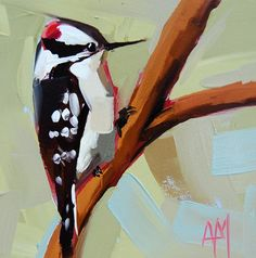 Downy Woodpecker no. 3 original bird oil painting by prattcreekart, $50.00