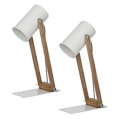 Instil refined, modern style in your space with the adjustable drum shaded Oscar Desk Lamp, White (Set of 2) from Amalfi.