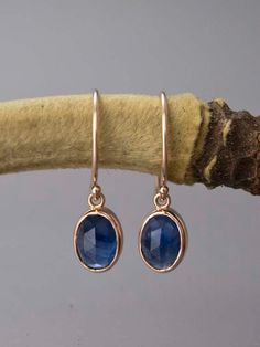 Rose Cut Oval Blue Sapphire and 14k Rose Gold by LichenAndLychee, $340.00