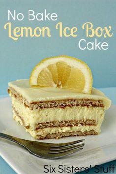 5 No Bake Desserts - No Bake Lemon Ice Box Cake from Six Sisters' Stuff