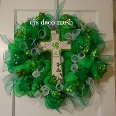 St. Patrick's day deco mesh wreath. Check out my page on facebook CJ's deco mesh:)