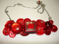 TOTALLY RED -Red Necklace - Vintage Button Jewelry - Button Necklace - Vintage buttons - Red Moon Glow Buttons - on Etsy, $38.00
