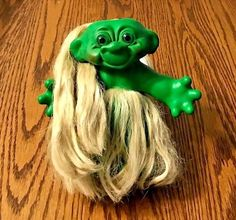 """Extremely Rare All Original 1960s 5.5"""" Green Troll Doll with Grass Skirt Vintage 