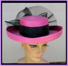 Vintage 1980s Hat Big PINK Wide Brim DRAMATIC Millinery Fashion - Found on Ruby Lane