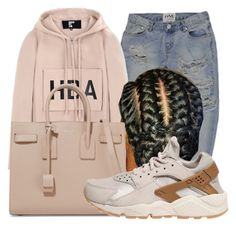 """""""✡"""" by mykail2xx ❤ liked on Polyvore featuring Hood by Air, Yves Saint Laurent and NIKE"""